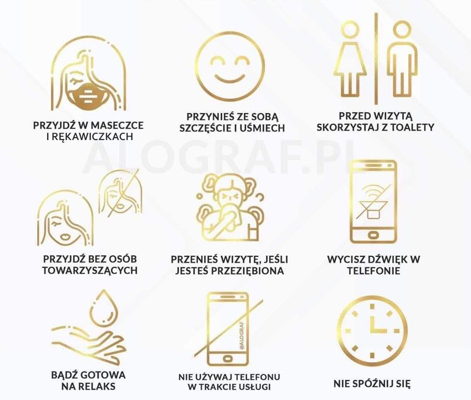 Zasady sanitarne podczas wizyty w salonie.